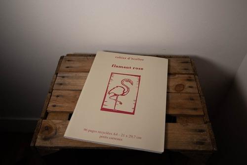 cahier flamant rose papier recyclé