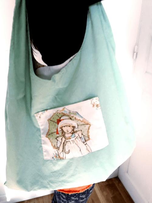 sac zéro déchet motif petite fille