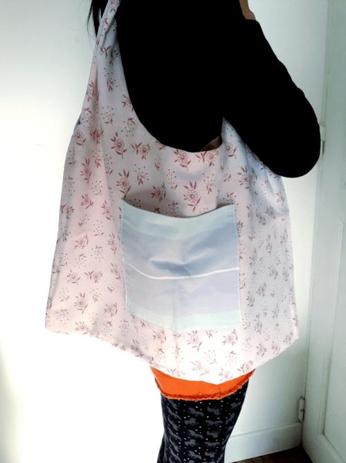 sac zéro déchet verso fleurs roses