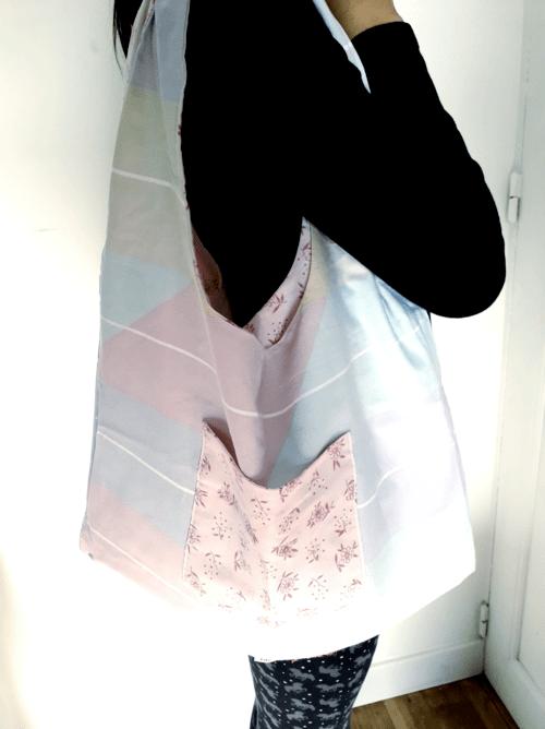 sac zéro déchet recto fleurs roses